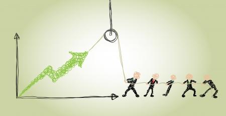 hijsen: zakenmensen maken gebruik van een takel om zaken te verbeteren Stock Illustratie