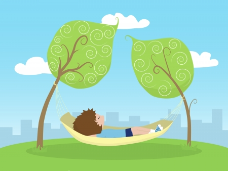 a kid lying on a hammock between two trees outside the city