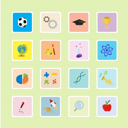 Sticker series of education icons Stock Vector - 19355592