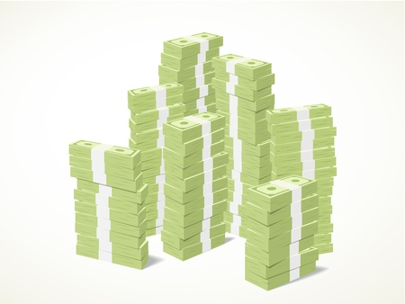 piles of stacks of green banknotes Illustration