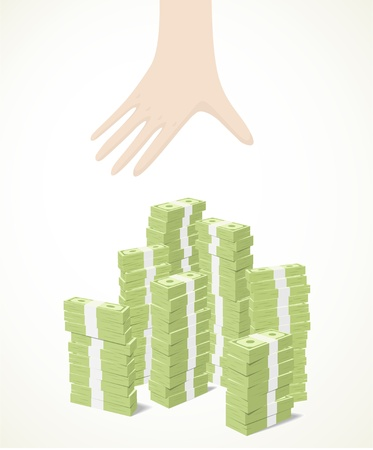 a white hand trying to reach piles of banknotes