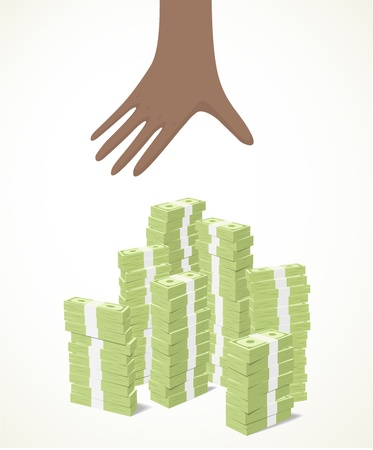 a black hand trying to reach piles of banknotes