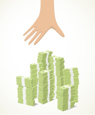 a yellow hand trying to reach piles of banknotes