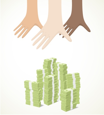 grabbing: hands reaching for piles of banknotes