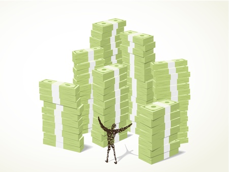 a person standing in front of piles of green banknotes with a happy manner Illustration