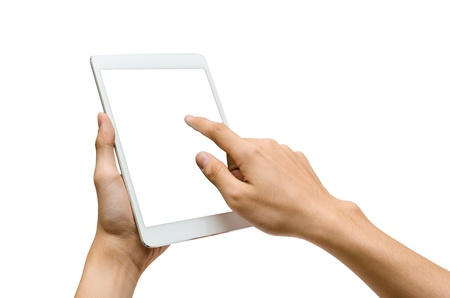 hands holding and pointing to a white tablet Stock Photo