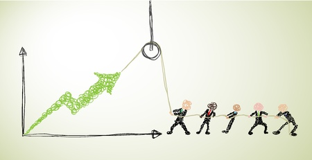 people with different skin tones using a hoist to lift the income chart