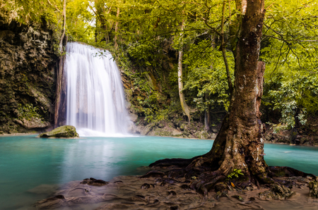 The third level of Erawan Fall, Thailand Stock Photo