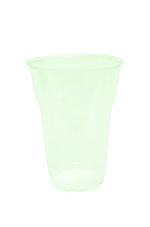 an empty green transparent disposible glass