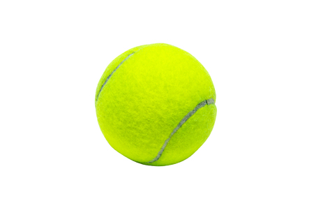 to play ball: a green tennis ball on the white background