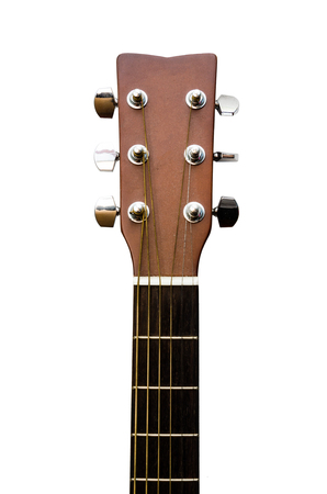 isolated image of the head and neck of the guitar