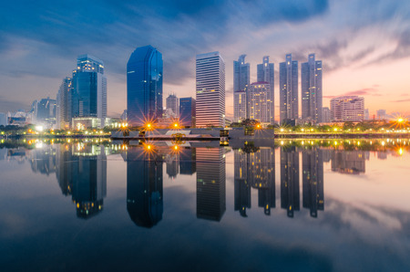 reflection of towers in bangkok thailand