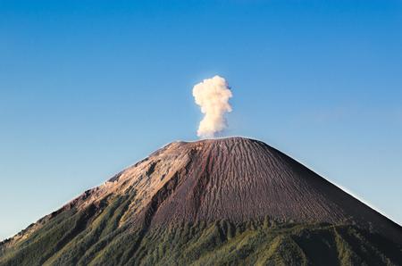 Close-up of Mount Semeru with smoke