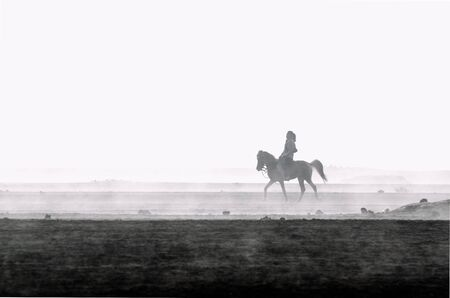 silhoutte of a woman with short hair riding on a horse Stock Photo