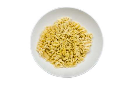 boiled instant noodle in a white bowl