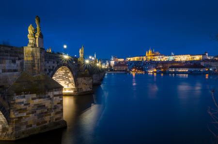 Charles Bridge, Vltava River and Prague Castle
