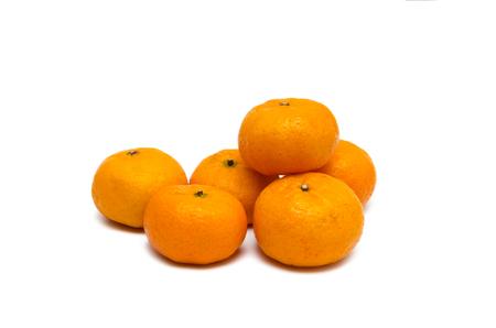 group of small fresh orange on the white background Stock Photo