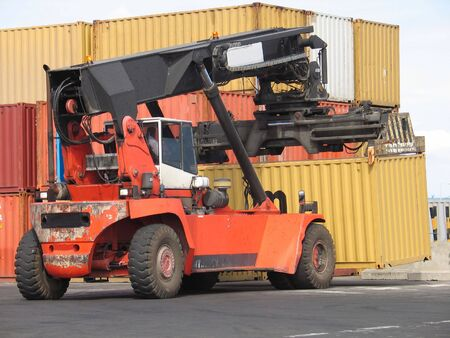 Loader moving container