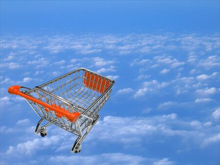 Dreaming about shopping over the clouds-concept