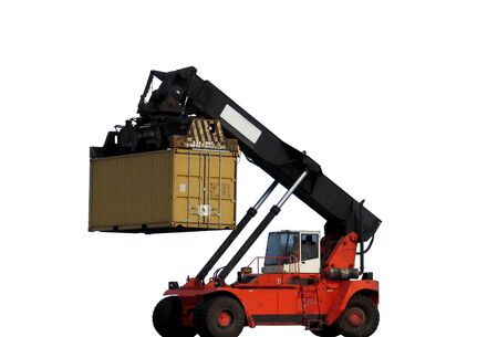 Loader picked a container, ISOLATED Stock Photo