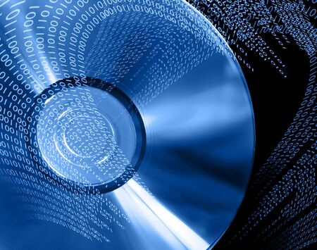 Binary data write and read on DVD, blue version. Stock Photo - 204646