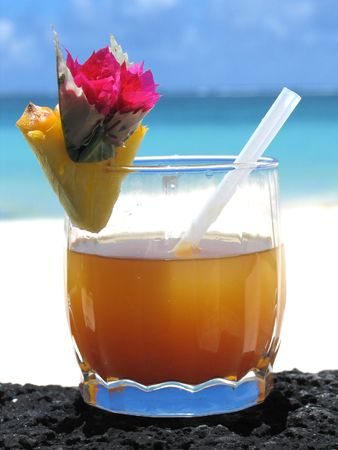 A tropical cocktail drink