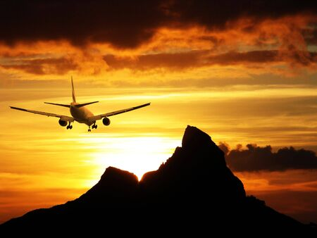 Plane leaving at dawn... Stock Photo