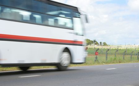 Blurred motion of bus in movement Stock Photo