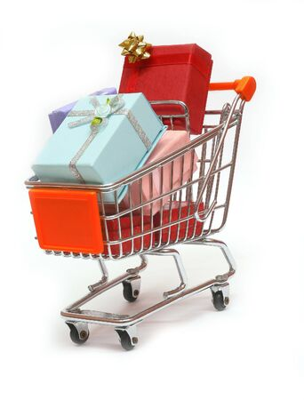 Shopping cart full of gift box