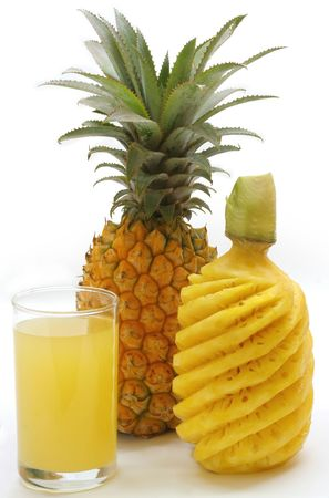 Fruits and juice compostion - Pineapple Stock Photo