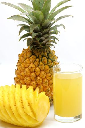 Ananas display with juice Stock Photo