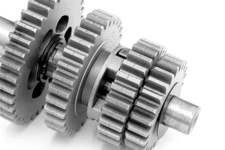 Closeup of metal gear box photo