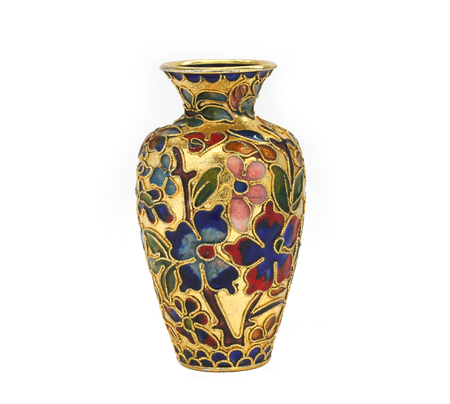Artisanal decorative pottery, golden