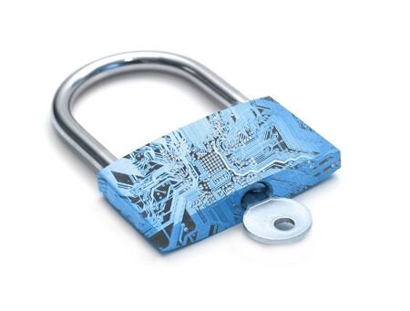 Blue digital lock representing internet security