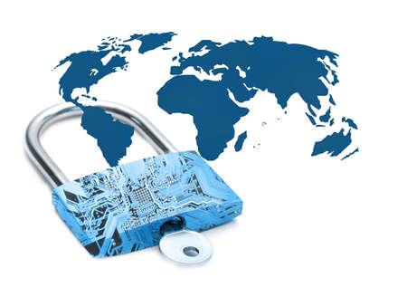 Blue digital lock representing internet security Stock Photo - 1676922