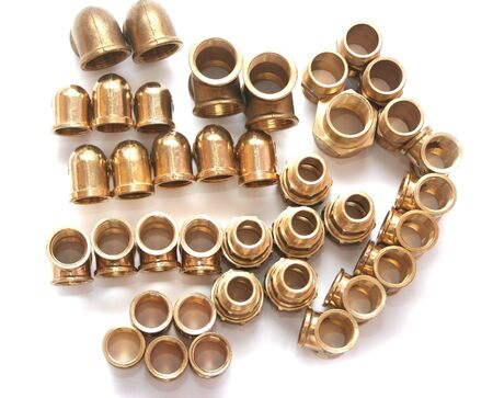 Group of copper brass Plumbing fittings Stock Photo