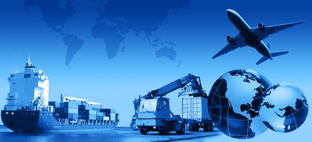 Foto montage van vracht  transport bedrijfsactiviteiten, complex. Stockfoto