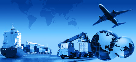 MARITIME: Photo montage of freighttransport business activities, complex. Stock Photo