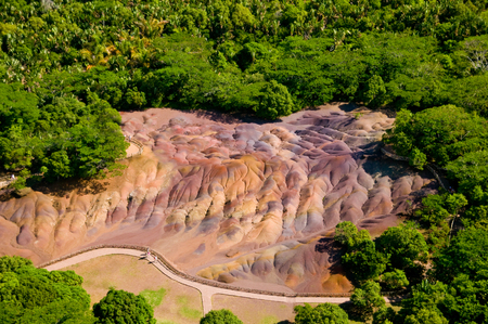 Aerial view of seven colored earth curiosity in Mauritius