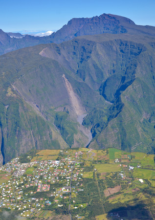 Village in Mafate Reunion Island near canyon overlooking Piton Des Neiges Mountain Stock Photo