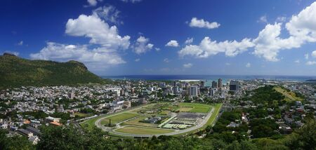 Aerial view of Port Louis capital of Mauritius  wide angle view