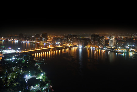 Aerial view of Nile river and bridge Cairo Egypt