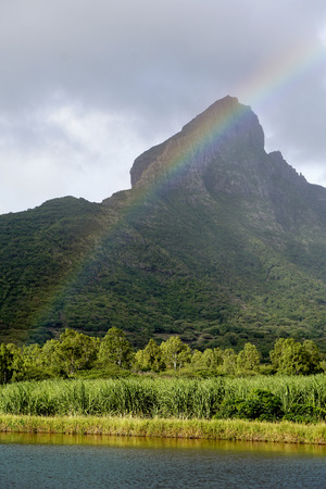 Rainbow on Rempart mountain Mauritius Stock Photo
