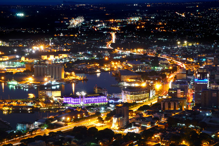 Aerial view of Port-Louis capital of Mauritius at night Stock Photo