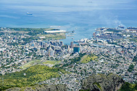 Port Louis Mauritius city skyline over blue sky Stock Photo