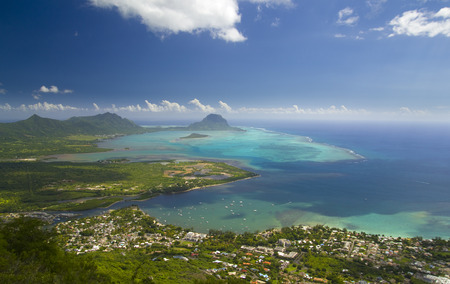 Aerial view of Le Morne Brabant and Tamarin village in Mauritius Stock Photo