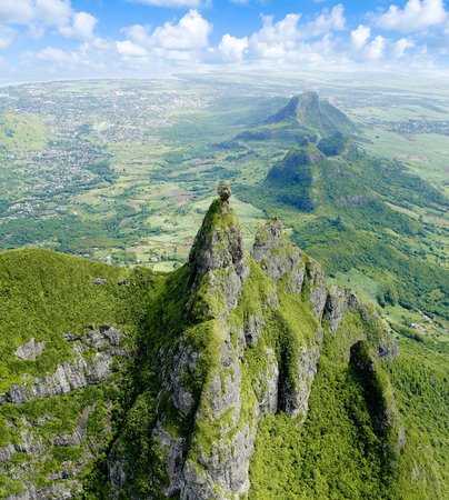 Arial view of Pieter Both Mountain Mauritius