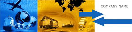 photo montage: Photo montage of freighttransport business activities, complex. Stock Photo