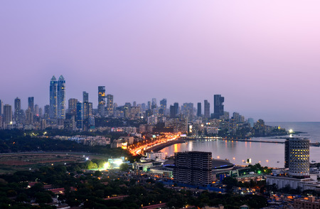 morning blue hour: Aerian view of mumbai by night at sunset blue hour