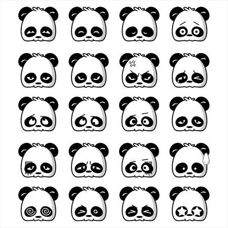 Illustration of cute panda expression
